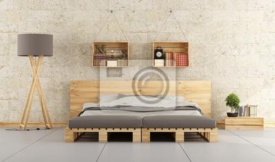 Modernes schlafzimmer mit palettenbett auf mauer notebook-sticker ...