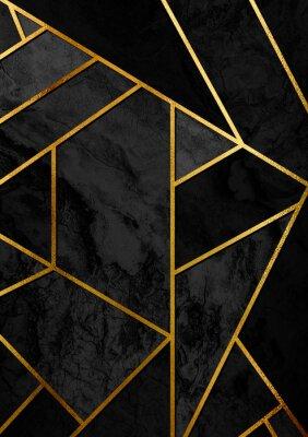 Sticker Modernes und stilvolles abstraktes Designplakat mit goldenen Linien und schwarzem geometrischem Muster.