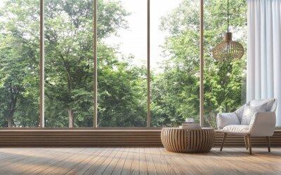 Sticker Modernes Wohnzimmer mit Naturansicht 3D-Rendering Bild. Es gibt Zimmer mit Holz. Es gibt ein großes Fenster mit Blick auf die umliegende Natur und den Wald