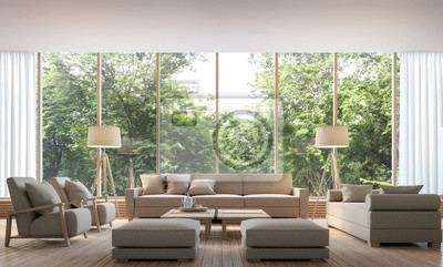 Modernes wohnzimmer mit naturansicht 3d-rendering bild. es gibt ...