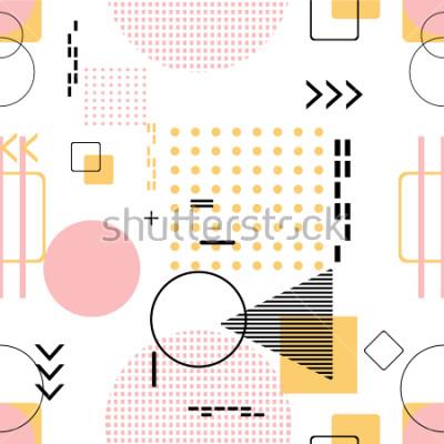 Sticker Modisch nahtlos, Memphis-Art mit geometrischem Muster, Vektorillustration mit geometrischen Zahlen. Hintergründe für Einladung, Broschüre und Promotionvorlage gestalten.