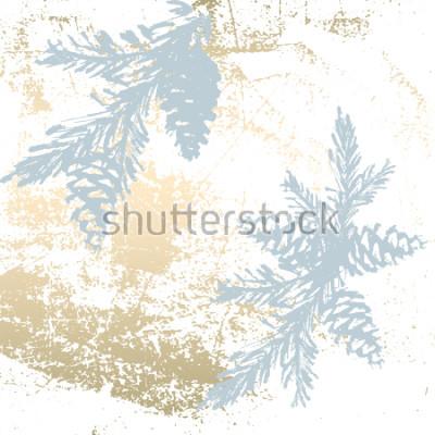 Sticker Modischer schicker Pastell färbte Hintergrund mit Goldfolienformen und gemalten Weihnachtsbaumschattenbildern. Abstrakte ungewöhnliche Texturen für Tapeten, Grußkarten, Kopfzeilen, Dekorationselemente