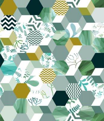 Sticker Modisches nahtloses Hintergrundmuster mit Hexagonfliesen im Grün, eps10
