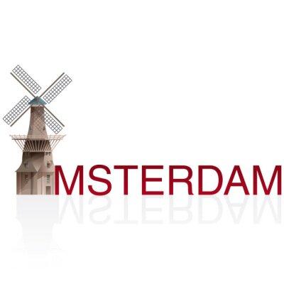 Sticker MOLEN DE GOOYER, Amsterdam. Vektoren der europäischen monumentalen Städten.
