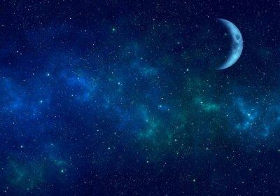 Sticker Moon, nebula and stars in night sky. Space background.