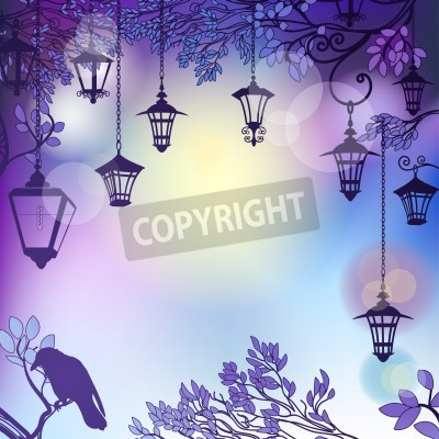 Sticker Morning background with tree branches and retro street lamps