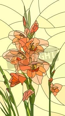 Sticker Mosaik mit großen Zellen von Gladiolen auf gelb.