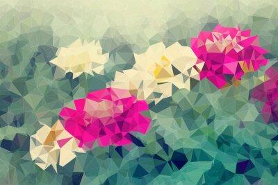 Sticker Mosaik und niedrigen Polygon Hintergrund auf Blumen Hintergrund, Illustration