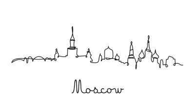moscow city skyline in one line style