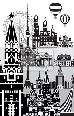 Moscow City Skyline vector 10