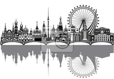 Moscow City Skyline vector 3