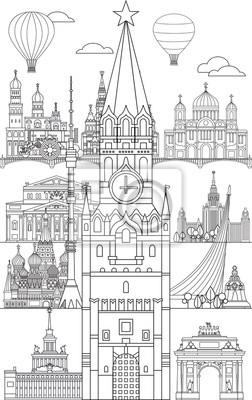 Moscow skyline line art 11
