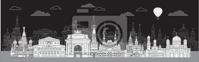 Moscow skyline line art 4