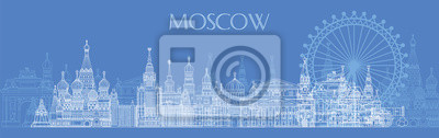Moscow skyline line art 5