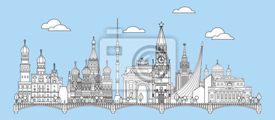 Moscow skyline line art 6