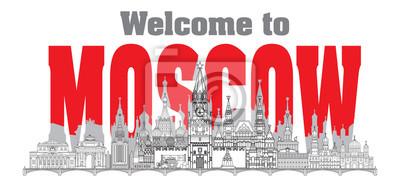 Moscow skyline line art 7