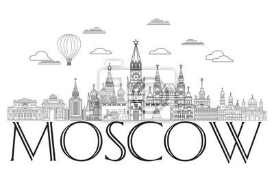 Moscow skyline line art 8