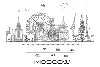 Moscow skyline line art 9