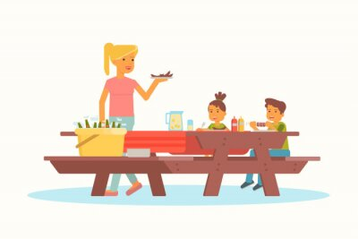 Mother with children on picnic vector illustration