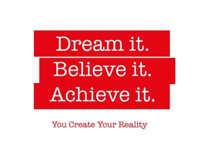 Sticker Motivierend Zitat, das Sie inspiriert, erfolgreich zu sein. Wörter, die dein Herz begeistern, deinen Geist im Leben motivieren, Erfolg schaffen, deine Ziele erreichen und deine Ängste überwinden.