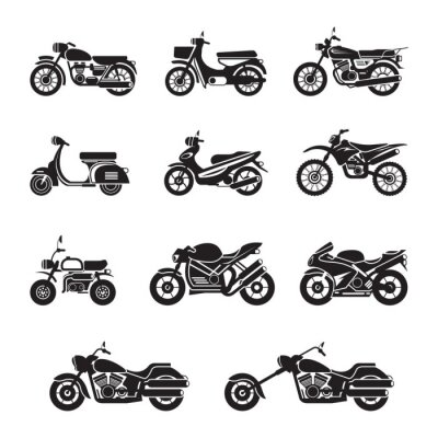 Sticker Motorcycle Riders, Bikers, Black and white, Silhouette