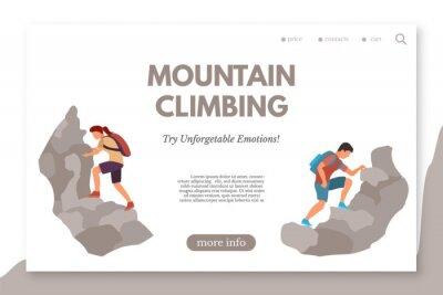Mountain climbing vector landing page template