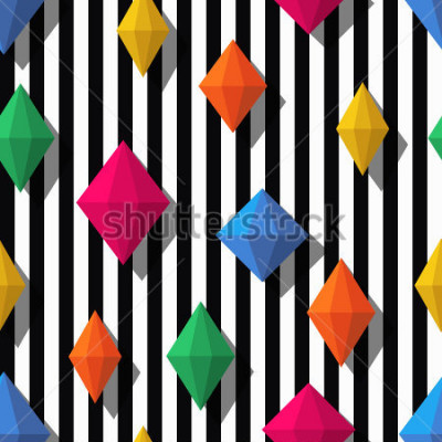 Sticker Multicolor diamonds, gems on black white stripes, seamless pattern. 3d vector shapes. Abstract universal background. Design for fashion textile print, wrapping paper, web background, package.