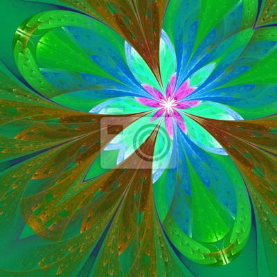Multicolor fraktalen schöne Blume in grün und braun. Computer