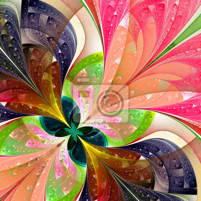 Sticker Multicolor schönen fraktalen Blume. Computer generierte Grafiken