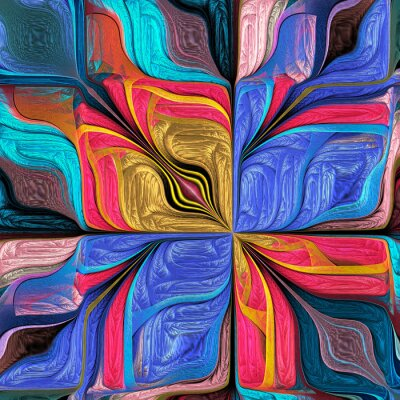 Sticker Multicolored Abstract Stylized flower. Modern art. You can use it for stained-glass window, tile, mosaic, ceramic, notebook covers, phone case, postcards, cards, wallpapers. Artwork for design, art.