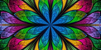 Sticker Multicolored Beautiful fractal flower in stained-glass window style. You can use it for invitations, notebook covers, phone case, postcards, cards, wallpapers. Artwork for creative design and art.