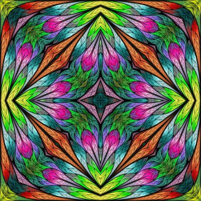 Sticker Multicolored floral pattern in stained-glass window style. You can use it for invitations, notebook covers, phone cases, postcards, cards, wallpaper. Pink, green. Artwork for creative design.