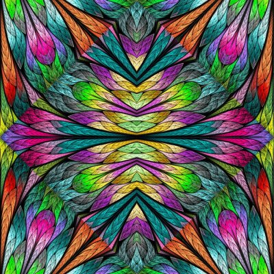 Sticker Multicolored floral pattern in stained-glass window style. You can use it for invitations, notebook covers, phone cases, postcards, cards, wallpapers and so on. Artwork for creative design.