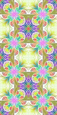 Sticker Multicolored flower pattern in stained-glass window style. You can use it for invitations, notebook covers, phone cases, postcards, cards, wallpapers and so on. Artwork for creative design.