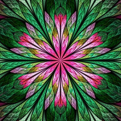 Sticker Multicolored fractal flower in stained glass window style. You can use it for invitations, notebook covers, phone case, postcards, cards, wallpapers. Pink, green,
