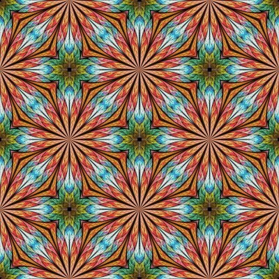 Sticker Multicolored seamless floral pattern in stained-glass window style. You can use it for invitations, notebook covers, phone cases, cards, wallpaper. Orange, blue. Artwork for creative design.