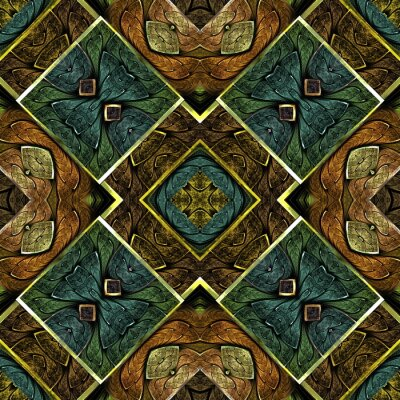 Multicolored symmetrical geometric pattern in stained glass style. You can use it for invitations, notebook covers, phone cases, postcards, cards, wallpapers and so on. Artwork for creative design.