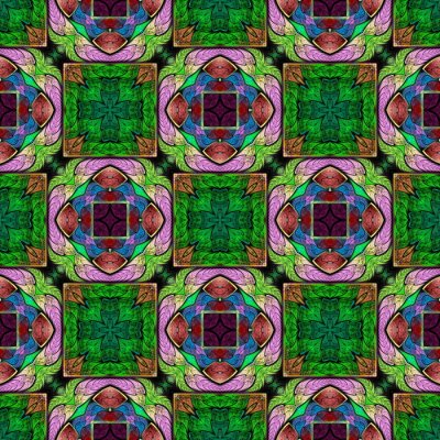 Sticker Multicolored symmetrical geometric pattern in stained glass style. You can use it for invitations, notebook covers, phone cases, postcards, cards, wallpapers and so on. Artwork for creative design.