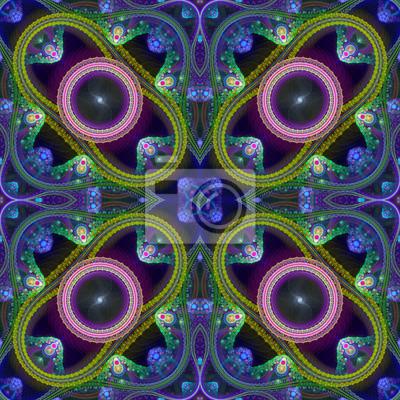 Sticker Multicolored symmetrical grid fractal pattern. Computer generate
