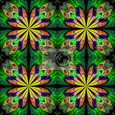 Multicolored symmetrical pattern in stained-glass window style.