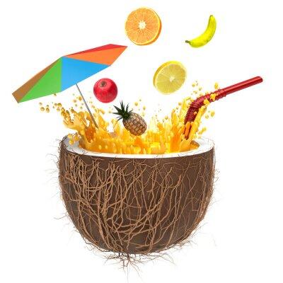 Sticker Multifruit Saft in der Kokosnuss mit einem Stroh und Spray