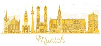 München Deutschland Stadt Skyline Goldene Silhouette.