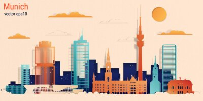 Munich city colorful paper cut style, vector stock illustration. Cityscape with all famous buildings. Skyline Munich city composition for design.