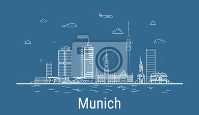 Munich city, Line Art Vector illustration with all famous buildings. Linear Banner with Showplace. Composition of Modern cityscape. Munich buildings set.