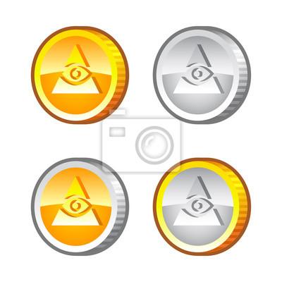 Münzen Mit Augen Notebook Sticker Wandsticker Menschliche Auge