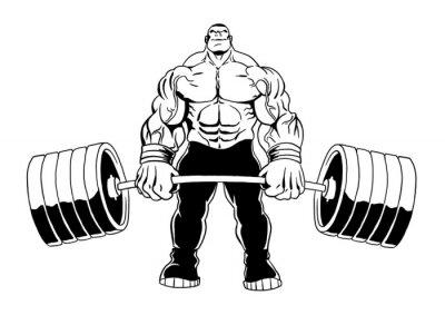 muscular bodybuilder lifts heavy barbell, illustration, cartoon, clipart, logo