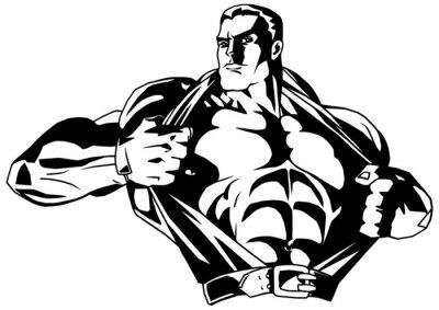 Sticker muscular bodybuilder rips shirt