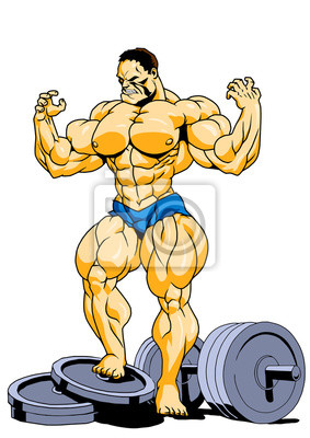 muscular super bodybuilder posing,illustration,color,logo,isolated on a white