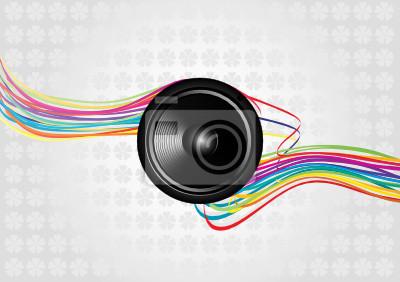 Musik Vektor Hintergrund mit schwarzen Lautsprecher und Linien
