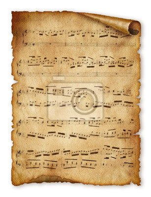 Musikalischer Hintergrund, altes Papier, beachten Sie, Alte Musik-Blatt Seite